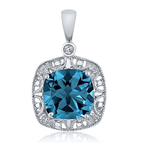 10K White Gold Cushion London Blue Topaz and Diamond Accent Necklace 2.74 cttw - Topaz Diamond Pendant Necklace
