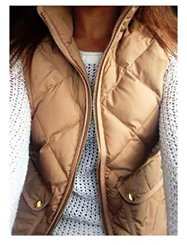 Womens Slim Khaki Quilted Fit amp;E Vest Stand Pure Collar Cotton Padded H Color Tw6RqCx5