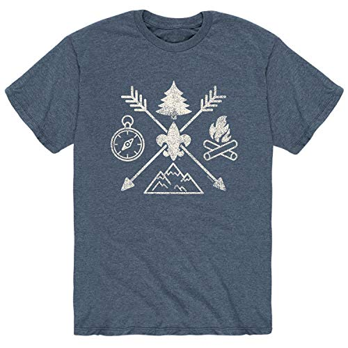 Boy Scouts of America Camp Symbols - Adult Short Sleeve Tee Heather - America Of Boy Camps Scouts