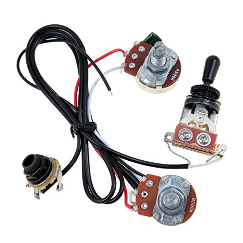 Kmise MI0319 Two Pickup Guitar Wiring Harness 500K 3 Way Toggle Switch Black-Great with Humbuckers