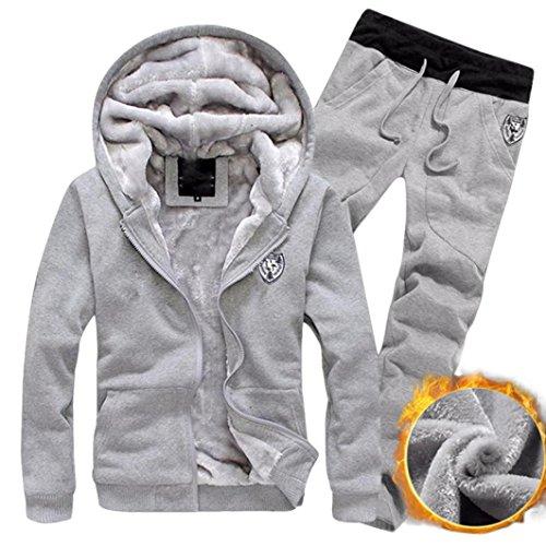 BCDshop Tracksuit Men, Male Warm Sport Hooded Sweatshirt Coat Hoodies+Pants Sweat Suit (Gray, Tag M(US XS-S))