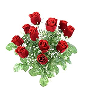 Admired By Nature GPB8377-RED 12 Stems Artificial Velvet Rose Buds, Red 1