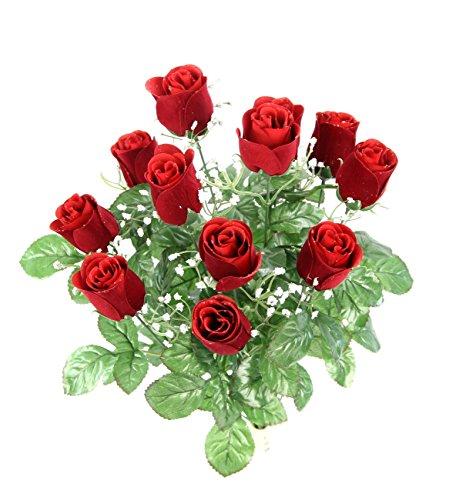 Red Velvet Roses - Admired By Nature GPB8377-RED 12 Stems Artificial Velvet Rose Buds, Red