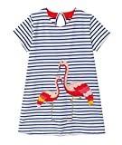Eocom Little Girls Soft Summer Cotton Short Sleeve Dresses T-Shirt Casual Cartoon Dress for Kids (Flamingo, 5T)