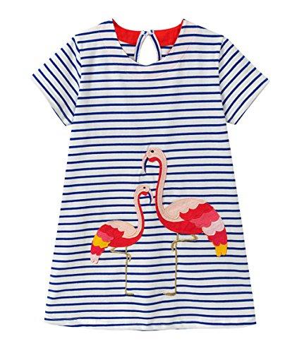 Eocom Little Girls Soft Summer Cotton Short Sleeve Dresses T-Shirt Casual Cartoon Dress for Kids (Flamingo, 5T) by Eocom