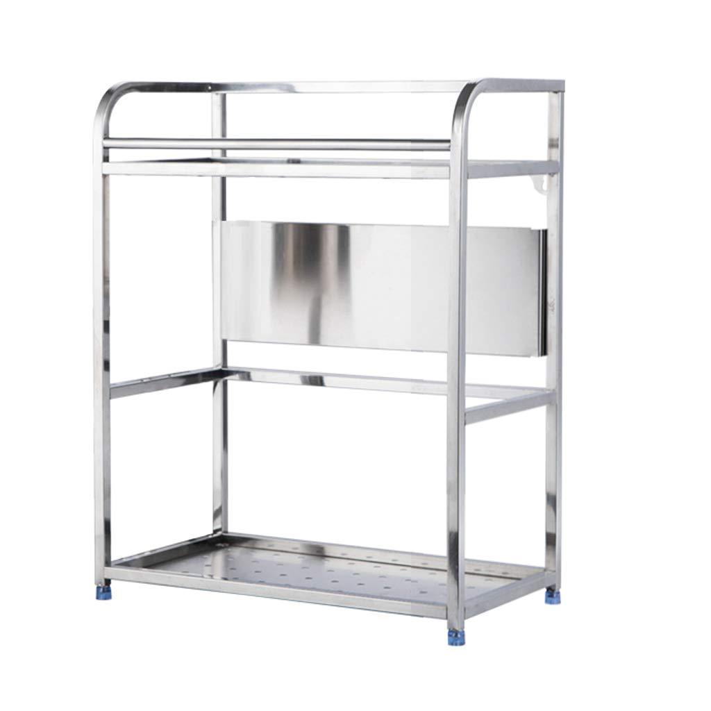 WLNKJ Kitchen Countertop Storage Rack Bracket, Floor-Standing 2-Layer Seasoning Storage Rack, Stainless Steel Multi-Function Kitchen Seasoning Rack - Silver,a,30cm