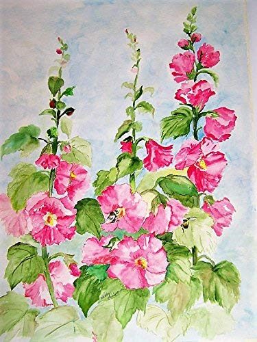 Original Watercolor Painting Pink Hollyhocks and Bumble Bees, Floral Painting, Home Decor, Wall Art, 24