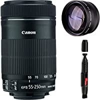 Canon 55-250mm IS STM Lens + High Definition Telephoto Auxiliary Lens + Deluxe Lens Cleaning Pen