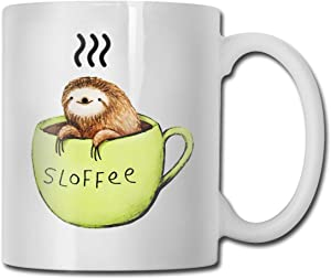 antkondnm Funny Coffee Mug Tea Cup for Men Women - Cute Sloth Sloffee - Fathers Day Mothers Day Birthday for Dad Mom Friends Wife Husband Boy Girl, White Fine-Bone Ceramic 11 oz