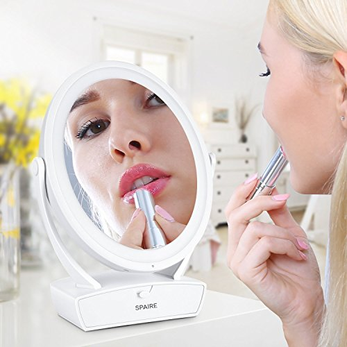Makeup Mirror LED Lighted Sparie Vanity Mirror 5XMagnification,Two-Sided 360 Degree Swivel Rotation,Touch Screen, USB Charging, Large Cosmetic Mirror with Drawer for Makeup,Cosmetic, Skin Care (Sided Makeup Mirror Two Lighted)