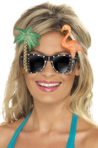 [Smiffy's Adult Unisex Tropical Sunglasses, Black, One Size, Specs, 28720] (Halloween Tree Costume)