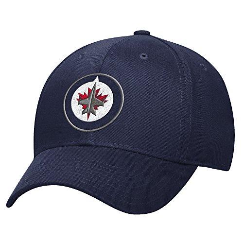 NHL Winnipeg Jets Men's Basic Pro Shape Flex Cap, Small/Medium, Navy