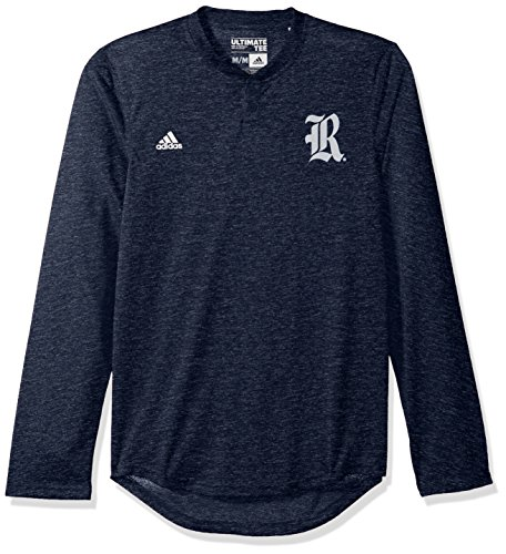 NCAA Rice Owls Adult Men Logo L/S Henley Tee,Medium,Navy (Owls Basketball)