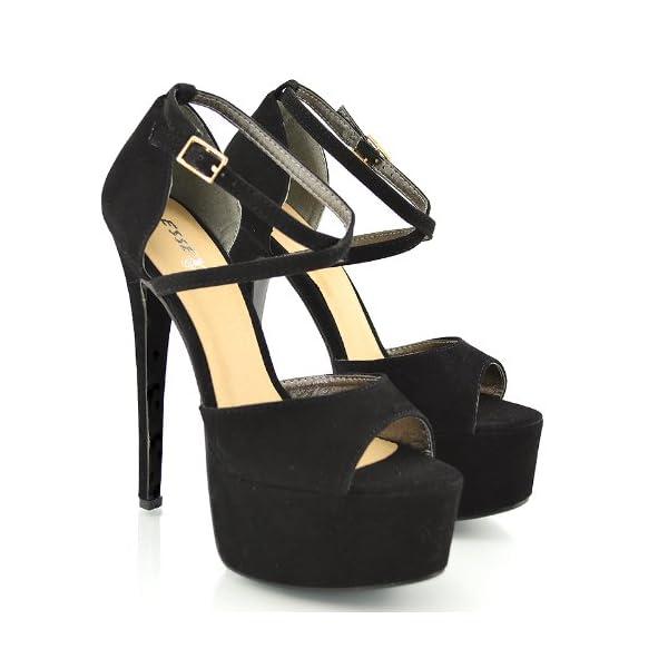 ESSEX GLAM Sandalo Donna Peep Toe con Lacci Plateau Tacco a Spillo Alto 5