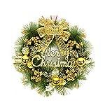 Quietcloud Christmas Garland Wreath, Door Xmas Tree Bell Bowknot Hanging Ornament Festival Decor Golden 50cm