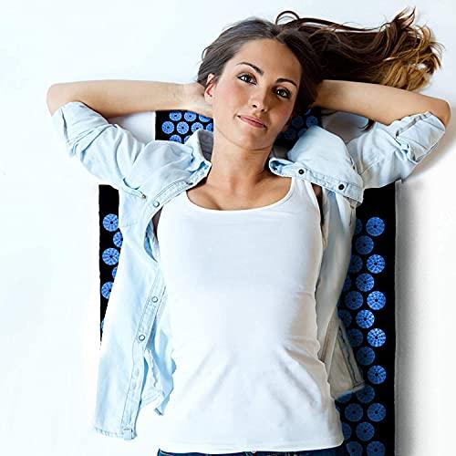 Akupressurmatte mit Kissen,Multifunktionales Massagematten-Set,2 mit Stacheln versehene Massagekugeln,Muskel Roller Stick zur Linderung von Rücken/Nacken Muskelentspannung (Blau)