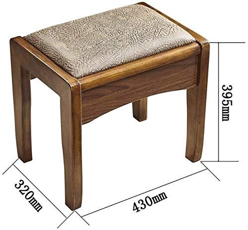 Asdfg Taburete de vestir, taburete de madera maciza, redondo, asiento de familia gruesa, mesa de comedor