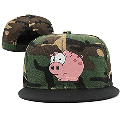 GCUPOI LMER Websi Wihey Cartoon Pink Pig Flat-Brim Baseball Caps Snapback Unisex Adjustable Hat