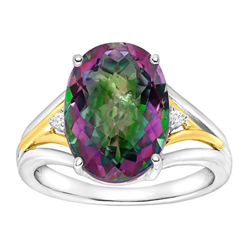 7 1/4 ct Natural Green Mystic Topaz Ring with Diamonds in Sterling Silver & 14K -