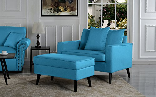 Mid-Century Modern Living Room Large Accent Chair with Footrest/Storage Ottoman (Sky - Sky Chair Wooden Blue