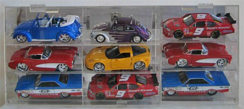 Kids-Safe NASCAR Maisto Diecast Hot Wheels Model Car Display Case 1:24 scale 9 Compartments ()