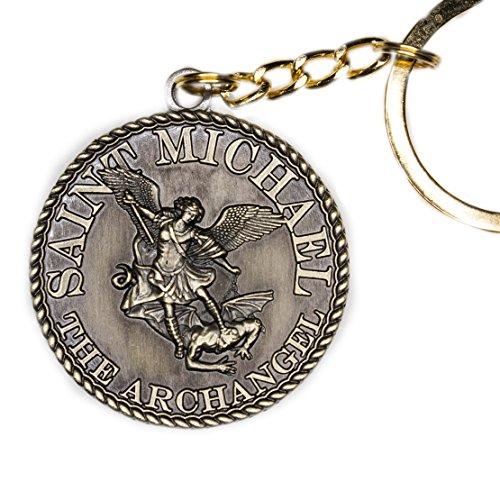 38mm dia St Michael Prayer Coin Keychain - Bronze Antique