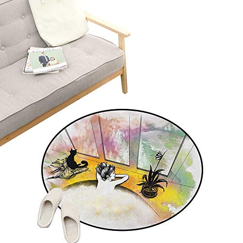 - Modern Custom Round Carpet ,Girl with Cat Taking Bath Spa Aroma Theraphy Relaxing Peaceful Massage Illustration, The Custom Round Non-Slip Doormat 31