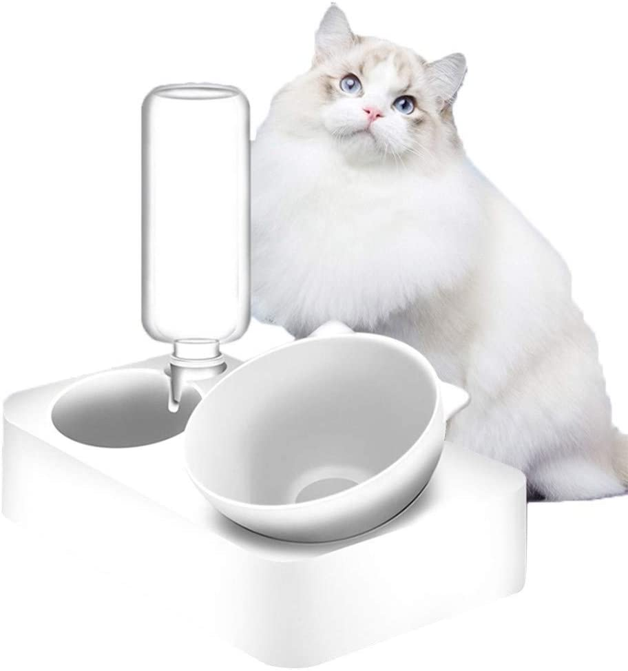 Double Dog Cat Bowls , 2 in1 Cats Waterer Cats Food Bowl Pet Automatic Water Dispenser Dogs Cats Waterer Feeder Bowl for Small Pets