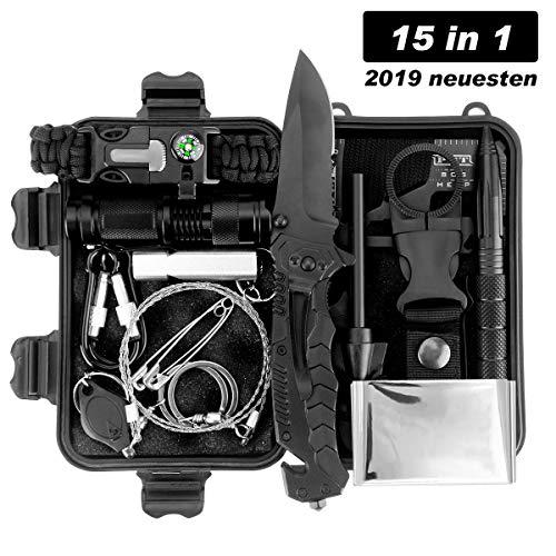 LC-dolida Survival Kit 15 in 1, Außen Notfall Survival Kit mit Messer/Taktische Taschenlampe für Camping/Bushcraft…