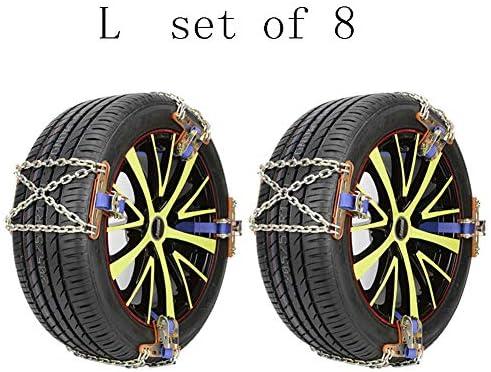 タイヤチェーン Set of 8 タイヤ幅165〜285ミリメートルロックbucle滑り止めチェーンの8つの車のスノーチェーンアンチスキッド、緊急トラクションのセット (Size : L(215-285MM))