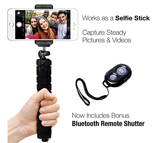 Phone Tripod, Auto Tech Portable and Adjustable Camera Stand Holder with Bluetooth Remote and Universal Clip for any Smartphone, Cellphone, iPhone, Android, Camera, GoPro | Flexible Mini iPhone Tripod