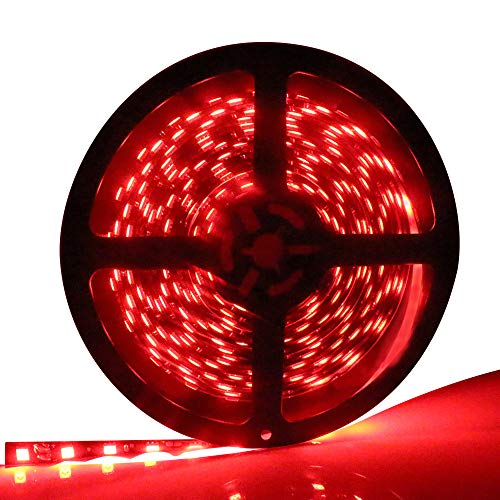 EverBright Super Brightness Red 5M(16.4Ft) 5050SMD 60LED/M 300 LED Waterproof Flexible Light Strip PCB Black For Car truck Neon Undercar Lighting Kits Mall House decoration Stage music Coloreful light