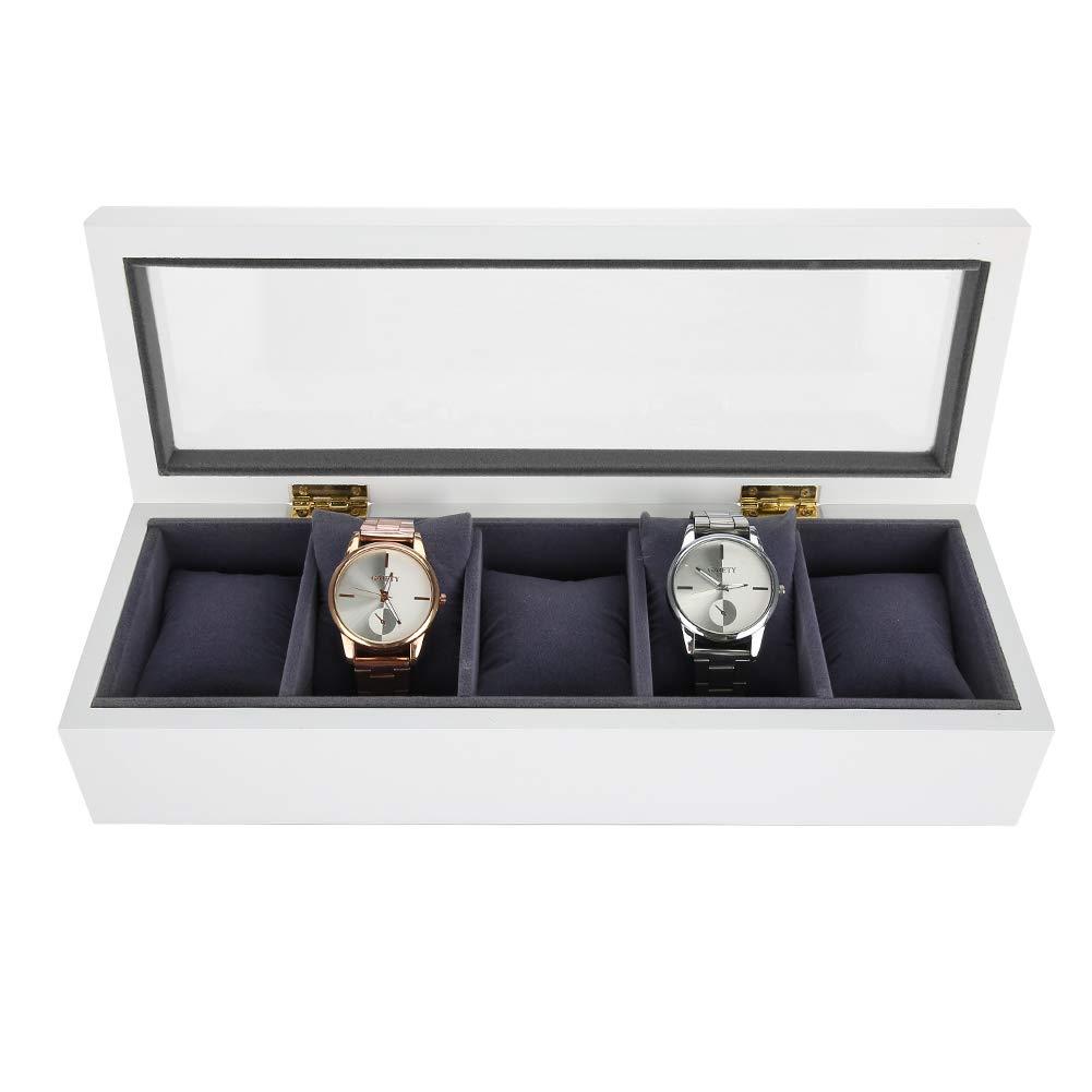Estuche de Almacenamiento de Relojes Barniz para Hornear, 5 Grids Caja Organizadora y Exhibición para Relojes o Joyeria (Blanco)