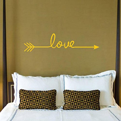 Wall Sticker,Saingace Home Decor Love Arrow Decal Living Room Bedroom Vinyl Carving Wall Decal Sticker (Yellow Decals)