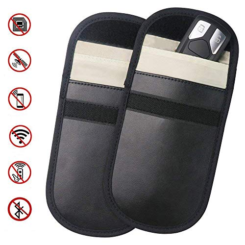 Car Key Signal Blocker Case Keyless Entry Fob Guard Blocking Pouch Bag for Antitheft Lock Devices Blocking Credit Card and Car Key Protector of WIFI/GSM/LTE/NFC/RFID -2 Packs