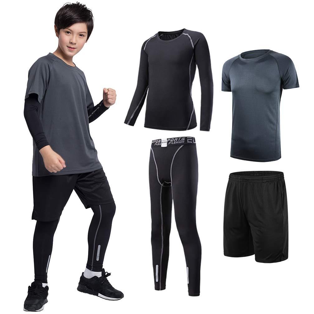 TERODACO Boys Football Shorts Set w Compression Base Layer Leggings & Tshirt by TERODACO