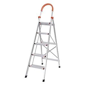 Homefami Anti-Slip Step Ladder Folding Step Stool Light Ladder Sturdy and Wide Pedal Aluminum Multi-Purpose (5 Step Ladder(66.5 ×36.2 ×18.9in))