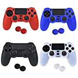 Silicone PS4 Controller Skin - YTTL 4 Colors Silicone Skin Protector Cover Case for PS4 PS 4 Slim PS4 Pro Controller with 4 Pairs of Matching Thumb Grips