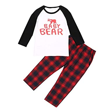 c2f89ca465 Image Unavailable. Image not available for. Color  Family Matching Pajamas  Holiday Christmas Polar Bear Sleepwear with Plaid Pants Set for Adult Kids  Red