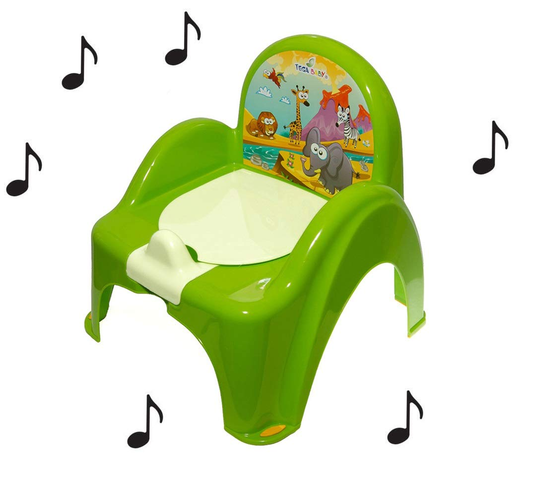 Pot de toilette musical pour b/éb/é enfant fauteuil chaise couleur vert avec th/ème animaux Safari