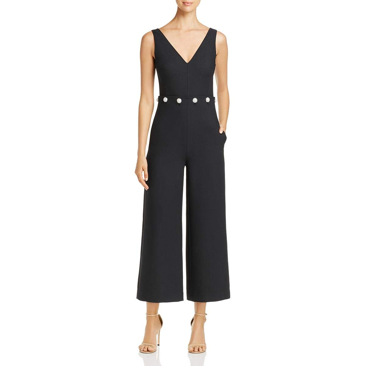 a9790f5bfdf2 Amazon.com  Tory Burch Womens Fremont Special Occasion Embellished Jumpsuit  Black 10  Clothing