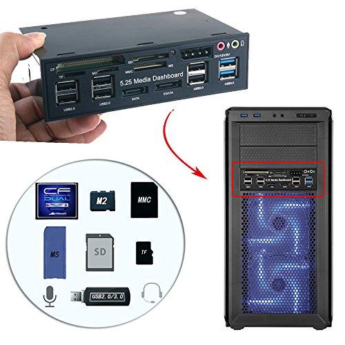 WANLONGXIN WLX-525E 5.25 Inch PC Dashboard Media Front Panel Audio, With SATA e-SATA Dual USB 3.0 6 port USB 2.0 Five-in-one Card Reader (SD/MMC / CF/MS / TF / M2) by WANLONGXIN (Image #2)