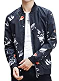 korean men clothes - omniscient Mens Korean Print Fual Zip Active Baseball Bomber Jacket 4 S