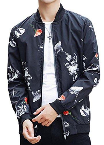 Jacket Fual Generic Baseball Mens Print Bomber Korean 4 Outdoor Zip Cap8q