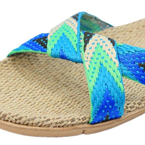 Pantofole Da Casa Traspiranti In Lana Di Lino Bestfur Blu Freccia