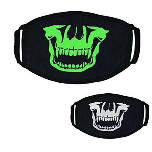 Dreamyth Black Halloween Party Luminous Ghost Skull Half Face Scary Horror Mask 26 Styles (Black F)