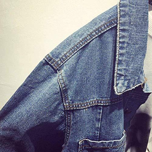Giovane Primaverile Cappotto Hipster Monocromo Women Elegante Festiva Con Jeans Bavero Outerwear Manica Autunno Plus Casuale Lunga Donna Giubbino Tasche Prodotto Moda Button Hellblau Jacket 78qxBwRz