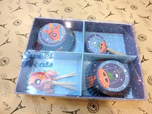 Space Cupcake Wrappers and Toppers - Set of 24