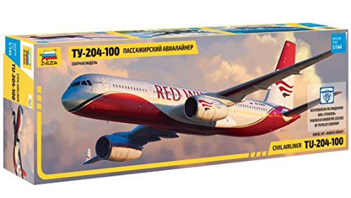 Zvezda 7023 – Civil Airliner Tupolev TU-204-100 – Plastic Model Kit (Paints not Included) Scale 1/144 48 Parts Lenght 14.5″ / 36.9 cm