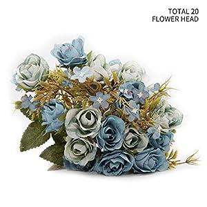 INNOLIFE Pack of 2 Artificial Silk Rose Flowers Total 20 Flower Heads Floral Arrangement Wedding Décor 39